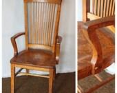 F4458 Antique American Quartersawn Oak Office Chair