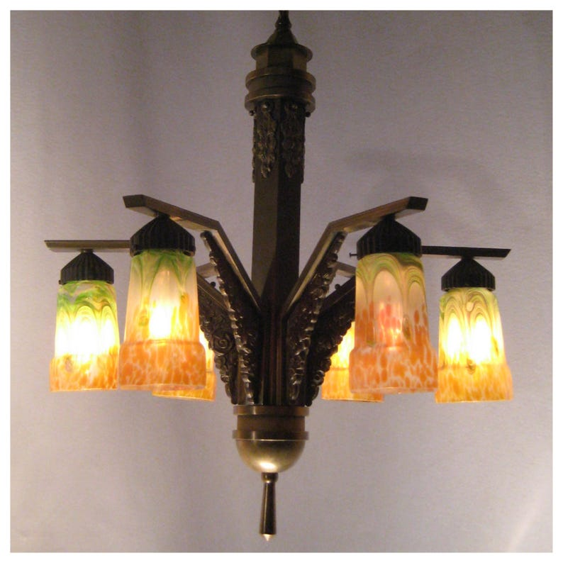 A7742 Circa 1920s Art Deco Heavy Cast Bronze Chandelier image 0