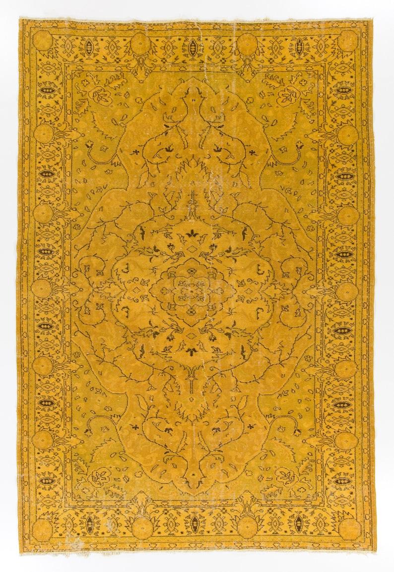 67 X 99 Ft żółty Kolor Vintage Turecki Dywan Pokrycie Podłogowe Ręcznie Dywan Wełny Do Nowoczesnego Biura I Domu Dostępne Opcje