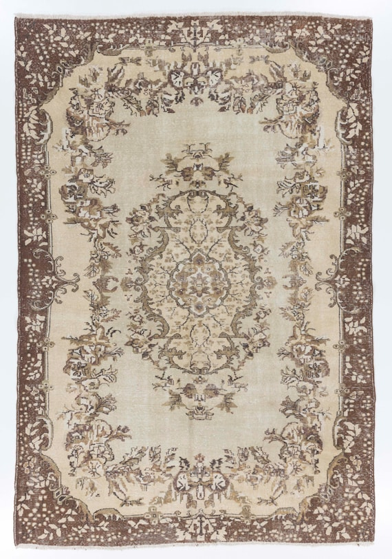 6 8x10 Ft Oushak Area Rug Washed Out Neutral Colors Beige And Brown Decorative Old Handmade Carpet Wool Cotton Y252