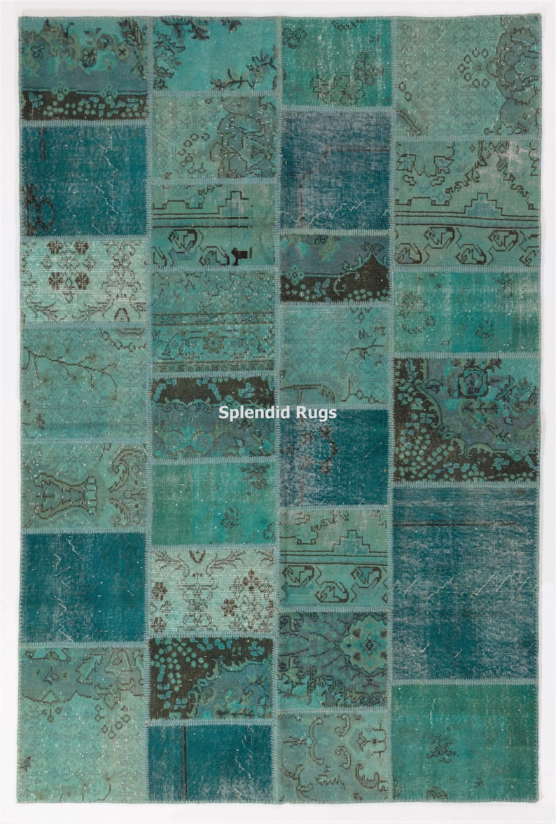 Turquoise Aqua Blue Color Patchwork Rug Handmade From Overdyed Vintage Turkish Carpets Wool Cotton Custom Options Available D12