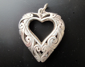 Unusual Openwork Scrollwork Vintage Sterling Silver Puffy Open Heart .925 Pendant Love 8.8g 3D Scroll Curlicue Statement Victorian Revival