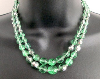 Fun Vintage Green Faceted Glass Bead Fire Polished Double Strand Necklace Pewter Coating Clear Spacer Beads Adjustable Length Hook Catch