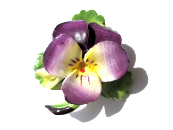 Delicate Vintage Brooch Pansy Flower Floral marked Cara China STAFFORDSHIRE Made In ENGLAND Green Purple Yellow Classic Timeless Lovely
