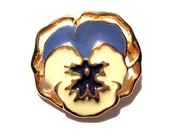 Vintage Avon Full Bloom Pansy Brooch Flower Ename… - image 1
