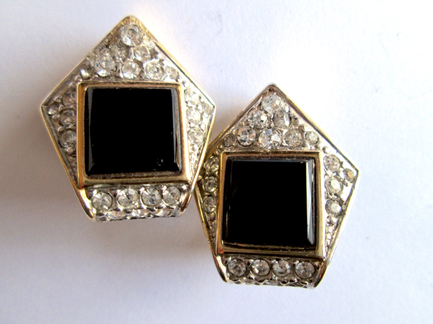 Art Deco Revival Rectangular Pin Vintage Silver tone Brooch w Faux Black Onyx with Clear Rhinestones