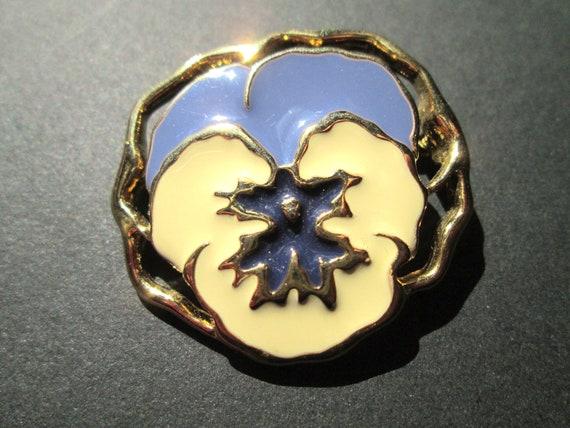 Vintage Avon Full Bloom Pansy Brooch Flower Ename… - image 5