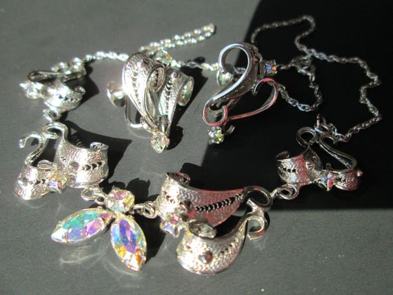 Stunning JAY FLEX Demi Parure Choker Necklace Screw Back Earrings AB Aurora Borealis Marquise Rhinestones Sterling Silver 925 Filigree