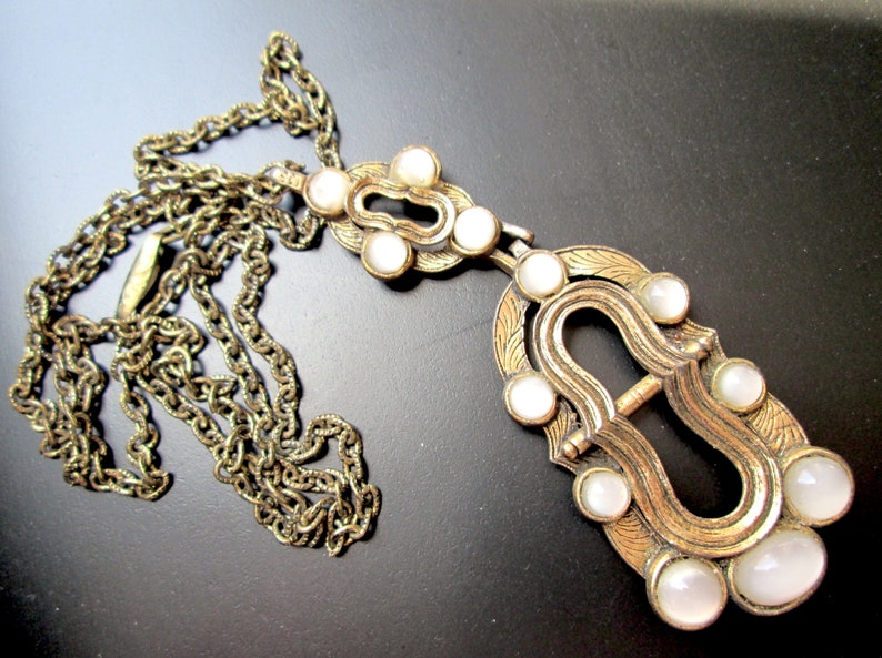 Vintage Signed MIRACLE Art Nouveau Revival Unusual Rare Fabulous Glass Faux Moonstone Cabochons Light Gold Brass Tone Chain Pendant Necklace