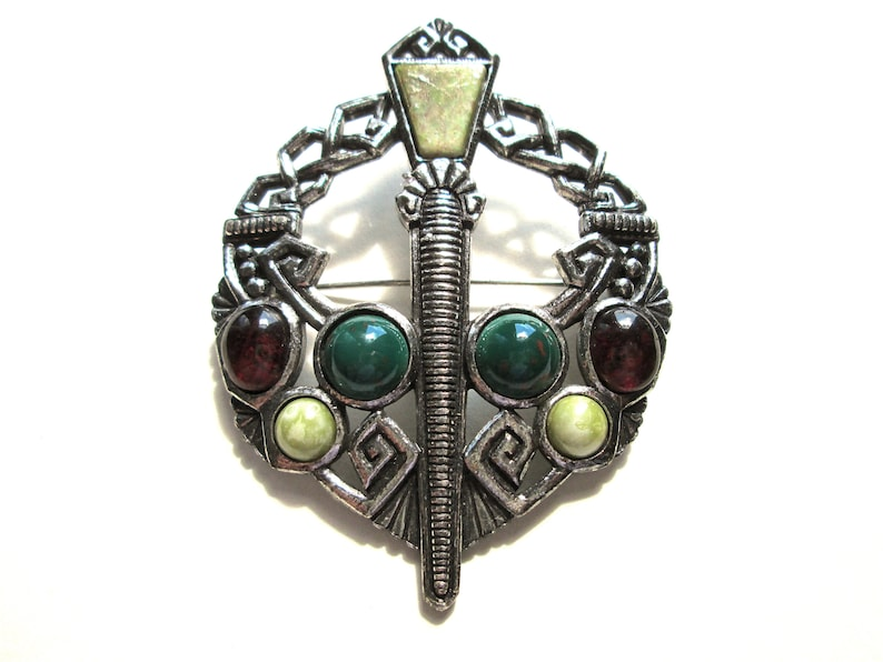 Vintage Celtic Signed Sol d/'Or Penannular Kilt Cloak Pin Style Brooch Miracle Pewter Tone Faux Connemara Marble Art Glass Cabochon Soldor