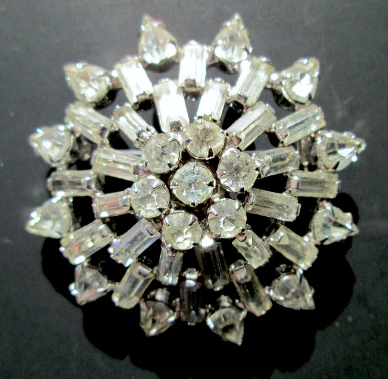 Pins & Brooches Snow Flakes With Ab Stones Silvertone Pin Brooch Jewelry & Watches