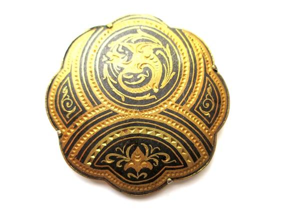 Vintage round damascene gold tone pinbrooch