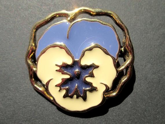 Vintage Avon Full Bloom Pansy Brooch Flower Ename… - image 2