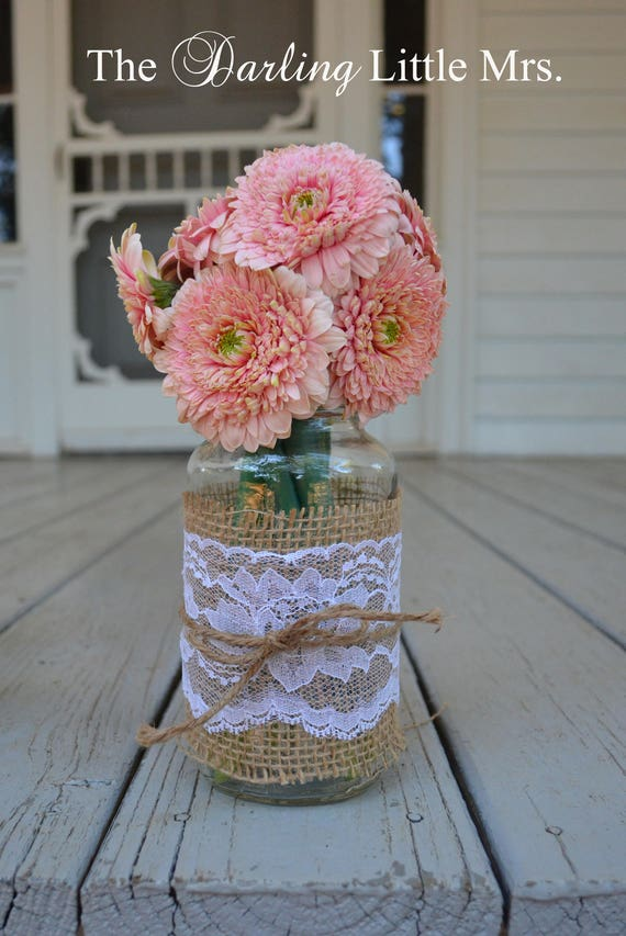 Rustic Glass Jar Vase Country Wedding Rustic Wedding Etsy