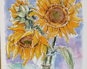 Sunflower art original watercolor painting, flower art still life, an original watercolour painting of a still life with sunflowers