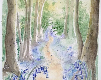 Bluebell wood painting original watercolour art flower painting one off, an original watercolour artwork of a beautiful bluebell woodland