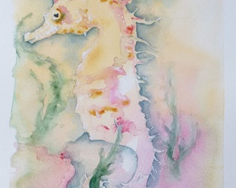 Seahorse art painting original art watercolour painting wildlife art, an original watercolour painting of a seahorse by EdieBrae