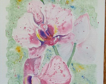 Orchid art, watercolour painting, original flower art one off painting, an original watercolour painting of my phalaenopsis orchid