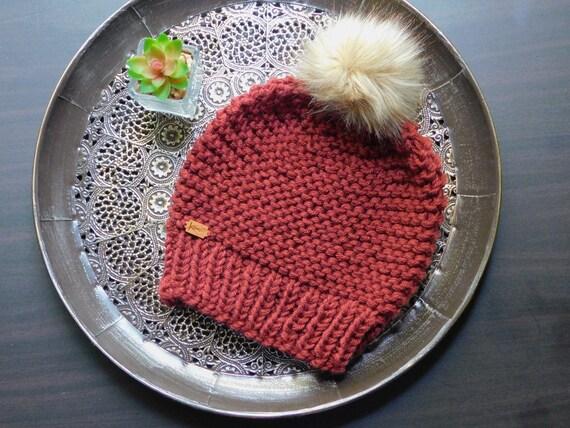 Garter Stitch Beanie   Hand Knit   Ready to Ship  8d340bd2baa