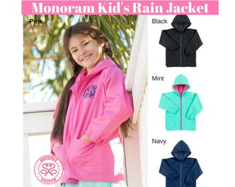 Monogram Kid's rain jacket, personalized rain coat, embroider rain jacket