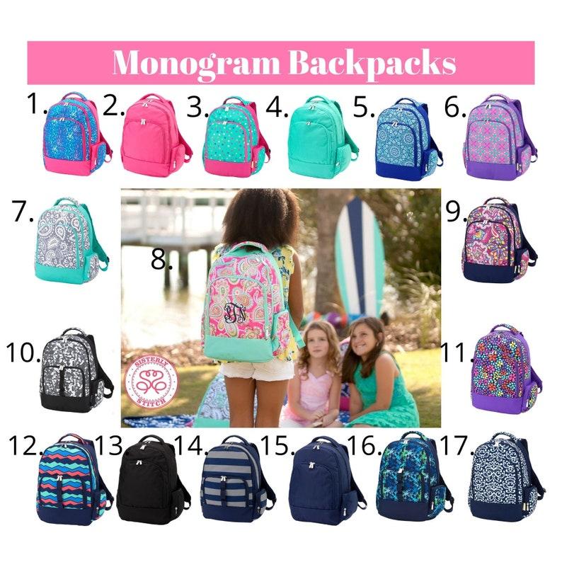 Monogram Girls Backpack  Personalized Kids backpack  Free 17.Navy Geometric