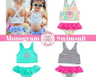 Monogram Swimsuit / Monogrammed Toddler Swimsuit/ Monogrammed Girls Bathing Suit / Monogram Girls Swimsuit/ Monogram Bathing Suit