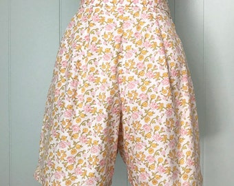 2f87c969a0 1960s Bright Floral Print Shorts | 60s High Waisted Pink Yellow Rose  Bottoms | Vintage Cotton Separate with Pocket | Size S