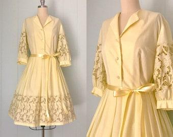 9987486a3221 1960s Nancy Greer Pale Yellow Lace Dress | 60s Cutout Shirtwaist Day Dress  | Vintage Eyelet Full Skirt Button Down Dress | Ladies Size XS