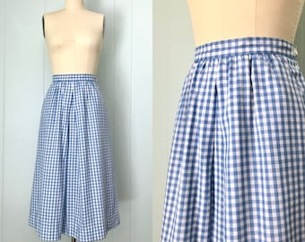 a7c54f656cc7 1970s Gordon of Philadelphia Blue and White Gingham Skirt | 70s Pleated  A-Line Skirt | Vintage Side Zip Cotton Skirt with Pockets | Size S