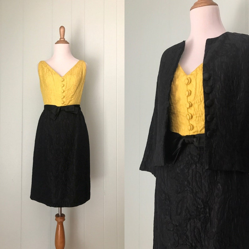 4e1ba4ef5532 1960s Colorblock Black and Yellow Dress Set 60s Satin | Etsy