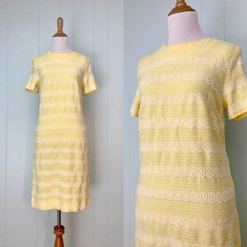 0618a392994 1960s Yellow Embroidered Shift Dress 60s Short Sleeve Linen