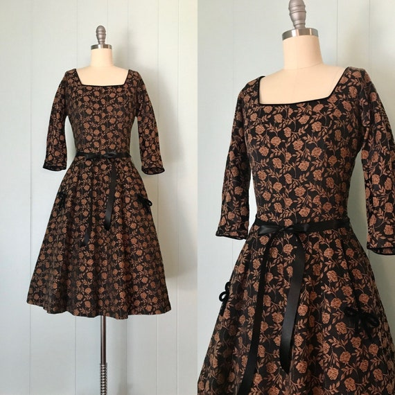 1950s McKettrick Copper Rose Cocktail Dress | 50s
