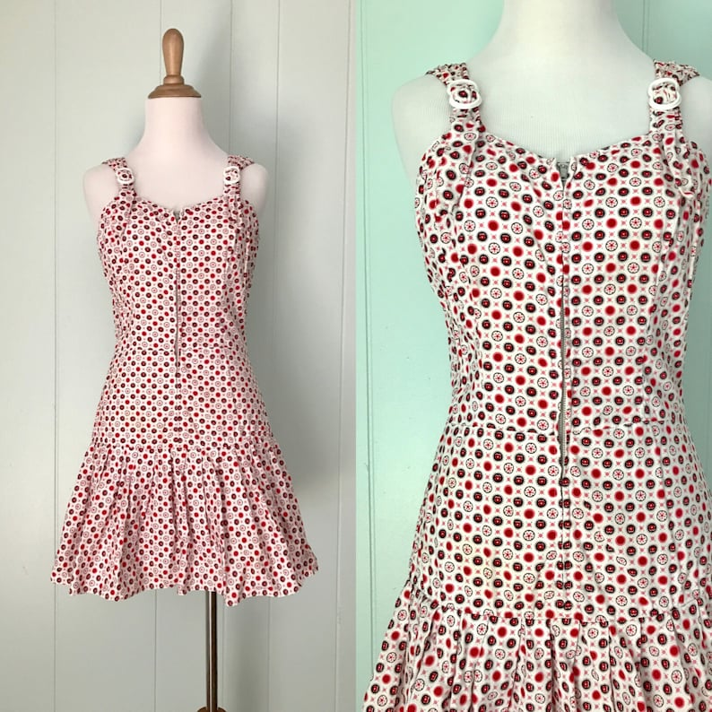 941a93722896 1950s Red White Black Floral Zip Front Romper 50s Flower