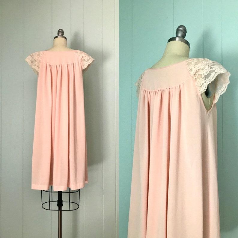 70s Peach Coral Peignoir Nightgown Set // Vintage Sheer Robe