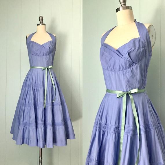 1950s McKettrick Periwinkle Halter Dress | 50s Blu