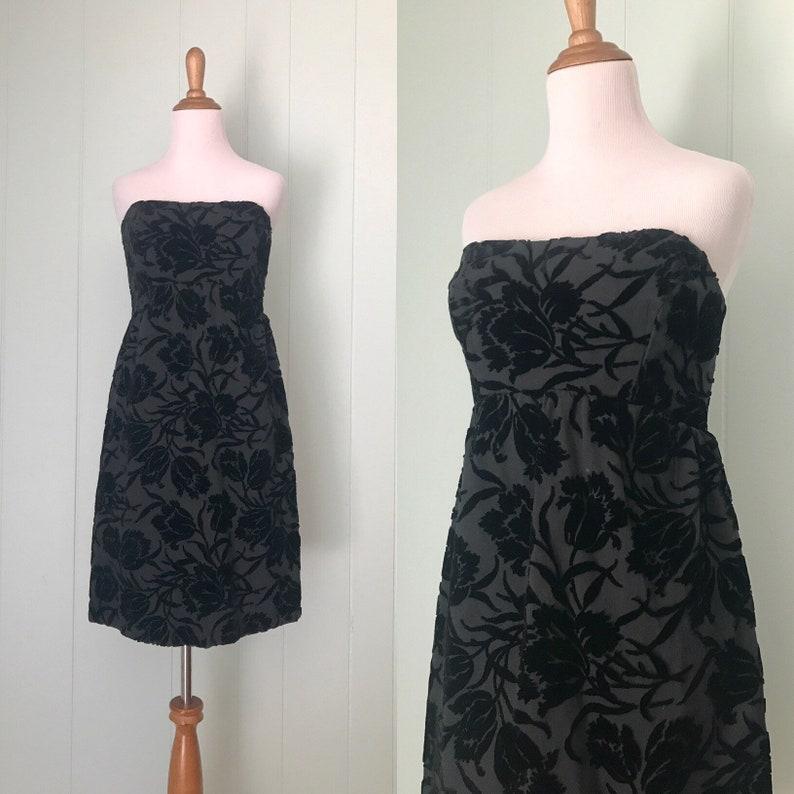1960s Black Velvet Strapless Cocktail Dress