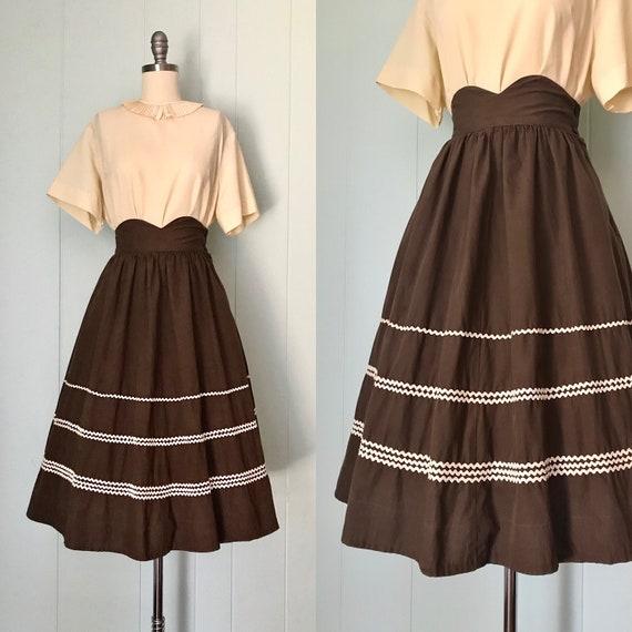 1940s Chocolate Brown Flared Skirt | 40s Ric Rac T