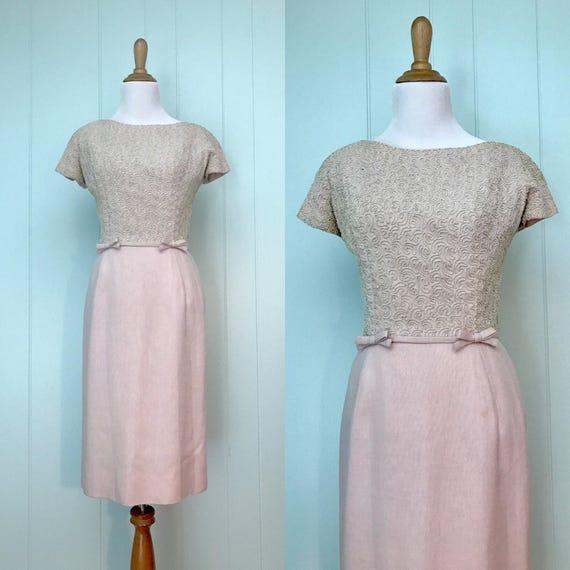 76f1c3d1e64f 1960s William Kitt Pink White Sparkle Soutache Wiggle Dress   Etsy