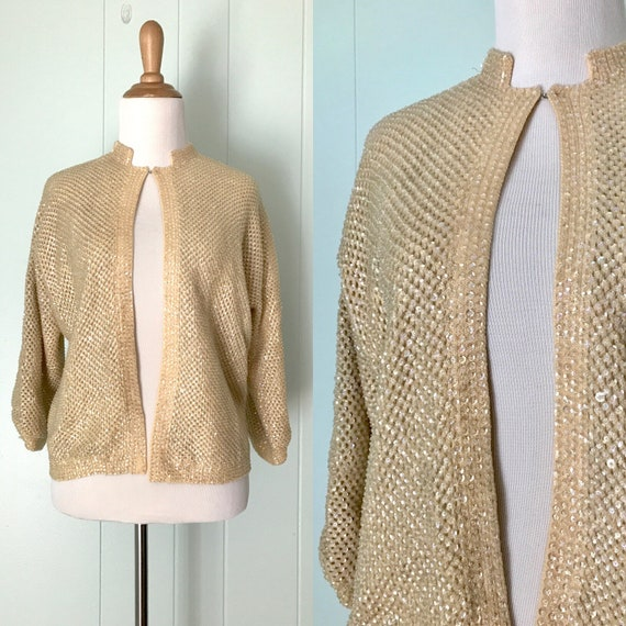 1960s Cream Sequin Sweater | 60s Ivory Long Sleeve Sparkle Cardigan | Vintage Off White Mandarin Collar Top | Ladies Size L Large
