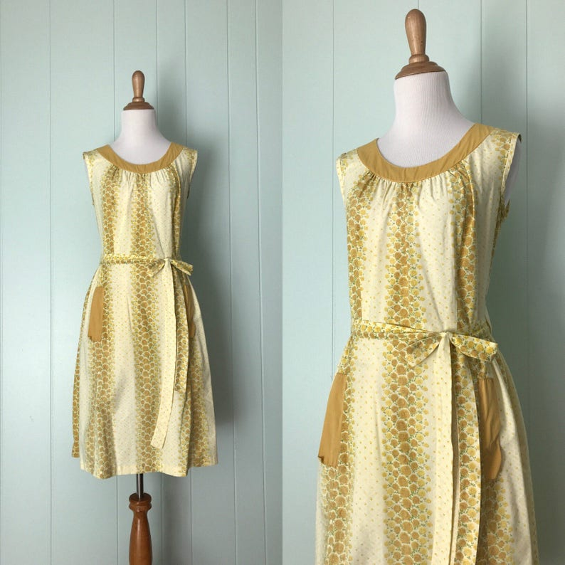 10c04e98b41 1950s Swirl Light Pale Yellow Rose Wrap Dress 50s Floral