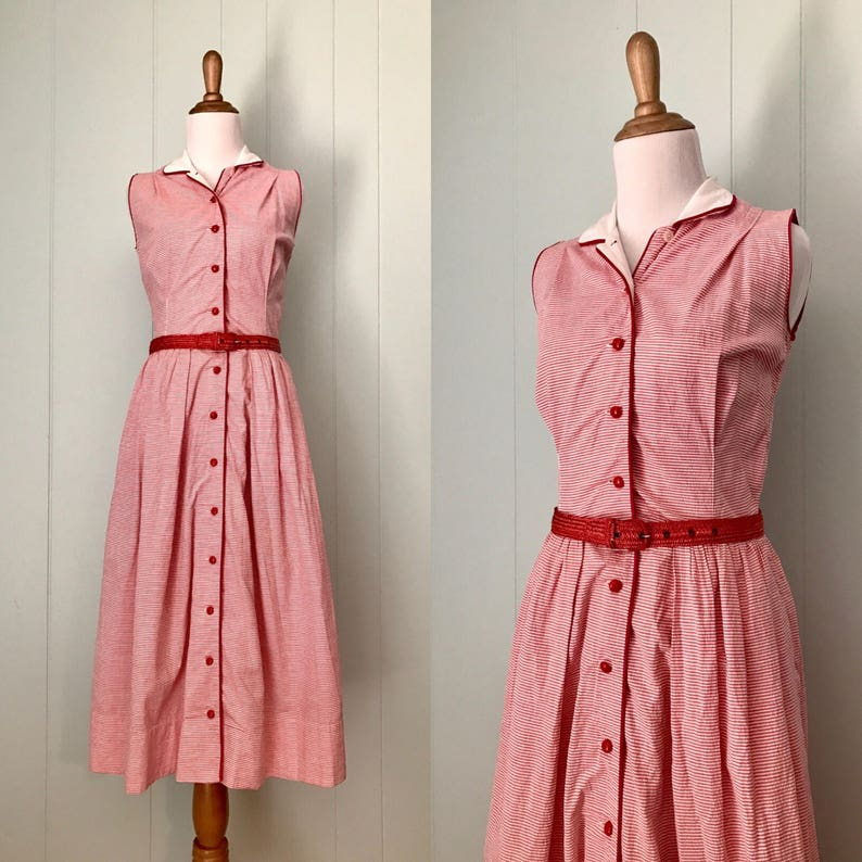 18940c88c7720 1940s Fashioned by Sorority Red and White Striped Dress 40s