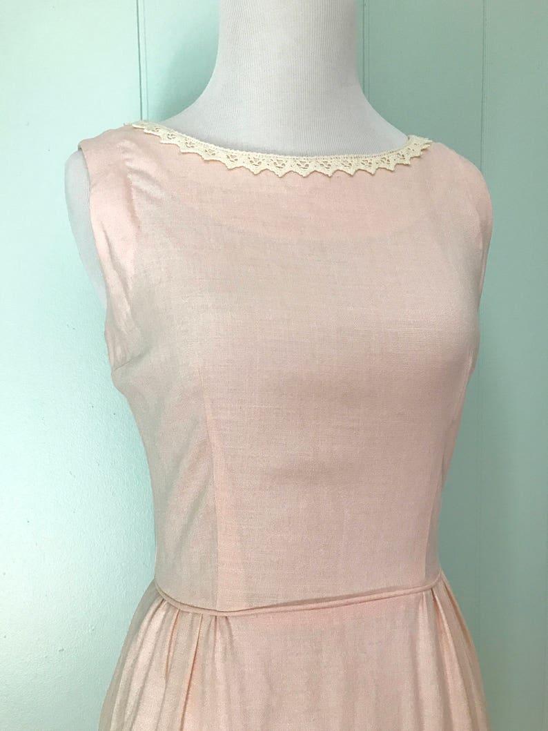 0d71d36b87fa5e 1960s Light Pink Linen Wiggle Dress 60s Pale Pink Sheath | Etsy