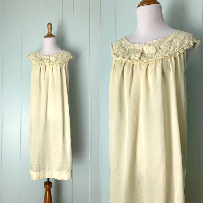 318fc1aca71 1960s Barbizon Pale Yellow Babydoll Nightgown 60s Pastel