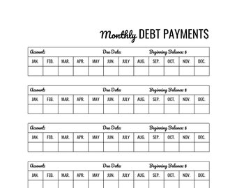 Monthly Debt Payments, Printable, Finance, Planner, Tracker, Download