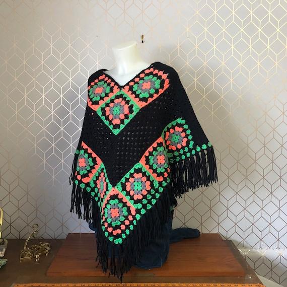 Vintage Granny Square Poncho. Crocheted Black Boho