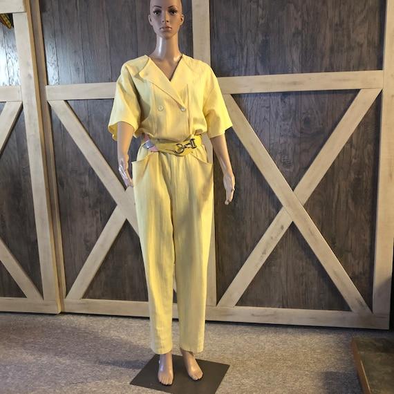 Vintage Cotton Jump Suit.  Yellow PETITE FLEUR Par