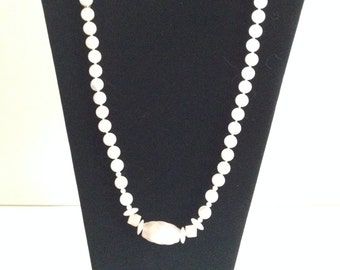 "Pink Quartz Bead Necklace with Oval Carving and specialty beads - 30""  Artist; Ann 'Mutzie' Meyers"