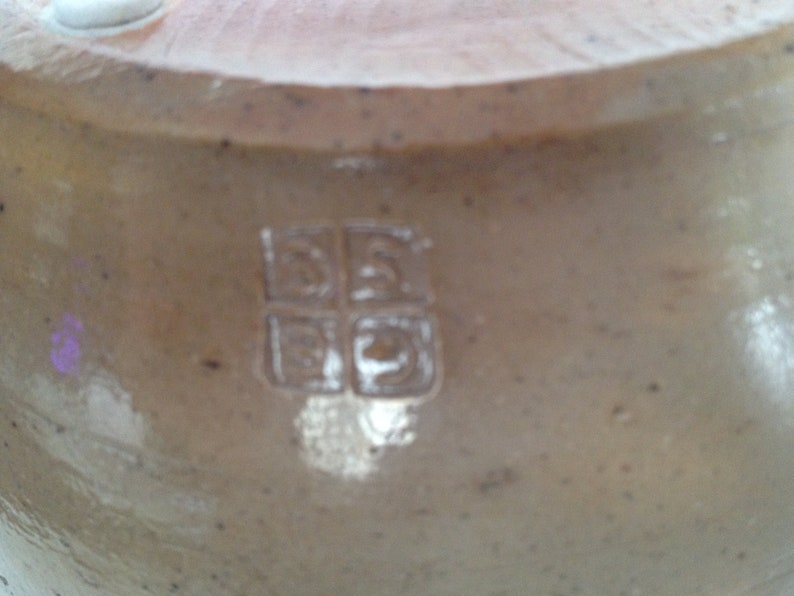 Terry Gess Pottery Clay Vase with Variegated Taupe Exterior Black Interior and Three Black Stripes; Signed
