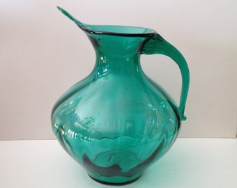 Blenko Glass Company; Designed by Winslow Anderson #963 Optic Glass Pitcher with a Ribbed Applied Handle - Made in WV USA