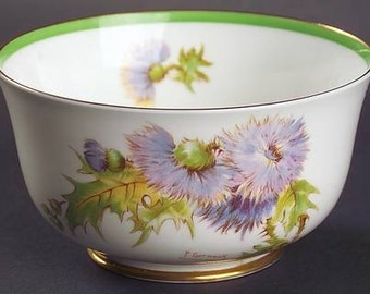 Royal Doulton 'Glamis Thistle' Cranberry Bowl- signed P Curnock; New Vintage
